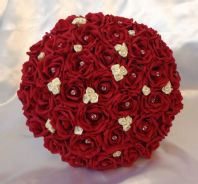 BRIDE WEDDING BOUQUET RED/IVORY FOAM ROSE WEDDING FLOWERS POSIE DIAMANTE